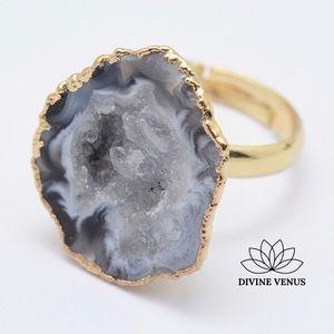 Natural Druzy Adjustable Ring